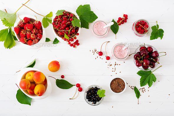 Yogurt with berries. Summer Breakfast. Healthy breakfast. Fitness food. by Timolina. Yogurt with ber...