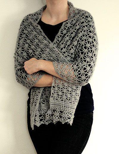 Crochet chal de encaje de ganchillo patrón Pdf por dziergalnia ...