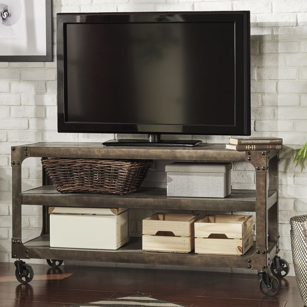 tribecca home galena industrial modern rustic iron console sofa table tv stand by tribecca home. Black Bedroom Furniture Sets. Home Design Ideas