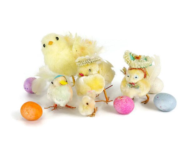 Vintage Easter Decoration Chenille Chick Easter by GizmoandHooHa $32.00