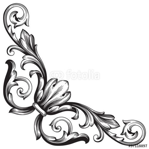 Vintage baroque frame scroll ornament engraving border floral retro - baroque scroll designs