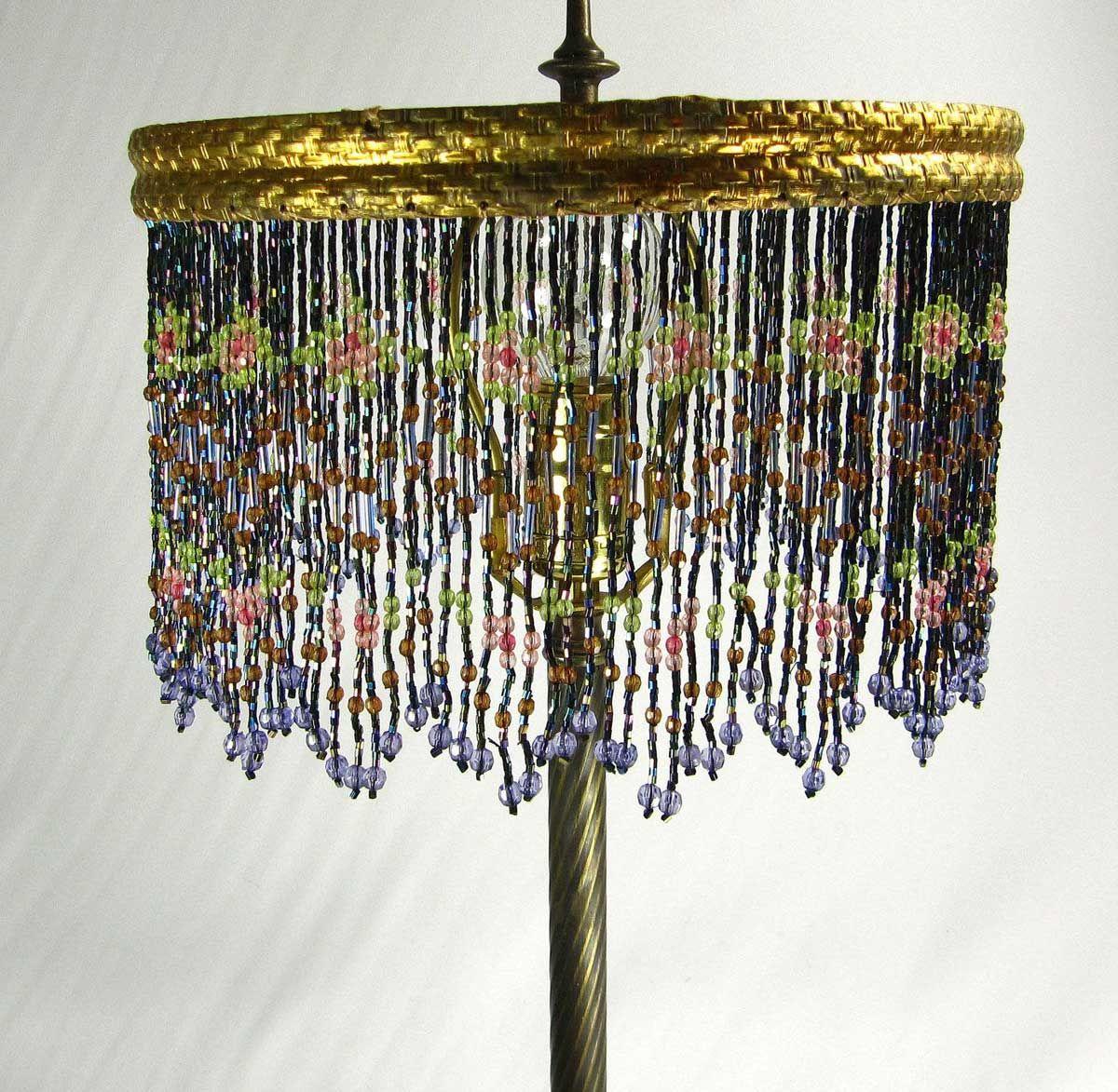 How To Make A Beaded Lamp Shade Beaded Lampshade Beaded Lamps Lamp Shade