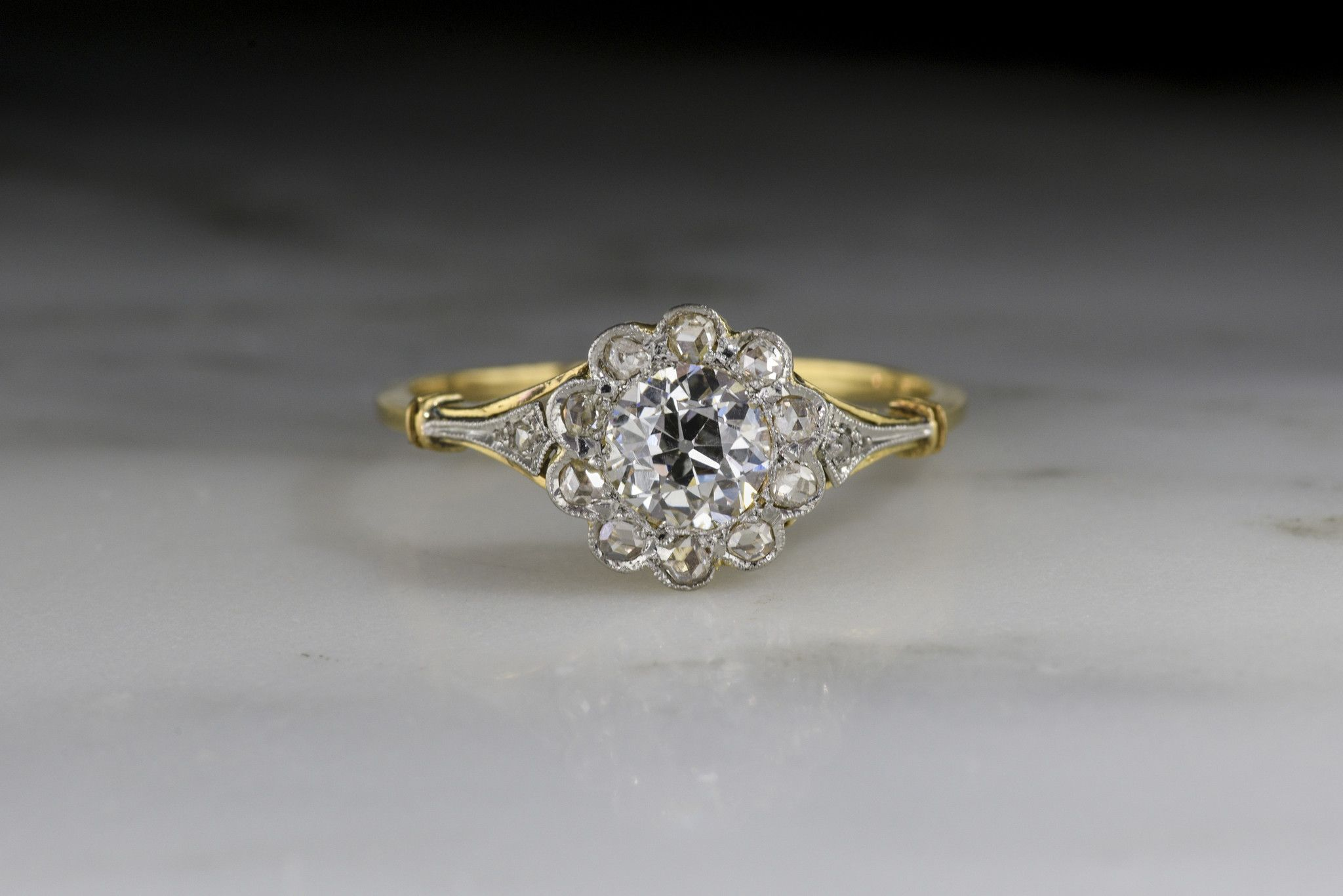 f24ad5cb6 Antique French Engagement Ring with a GIA Certified Old European Cut  Diamond Center and Rose Cut Halo from Pebble and Polish