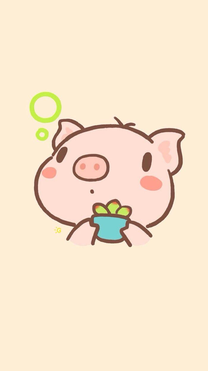 Character Of Cute Pig In A Strawberry Doughnut Cute Doodles Cute Pigs Cute Drawings