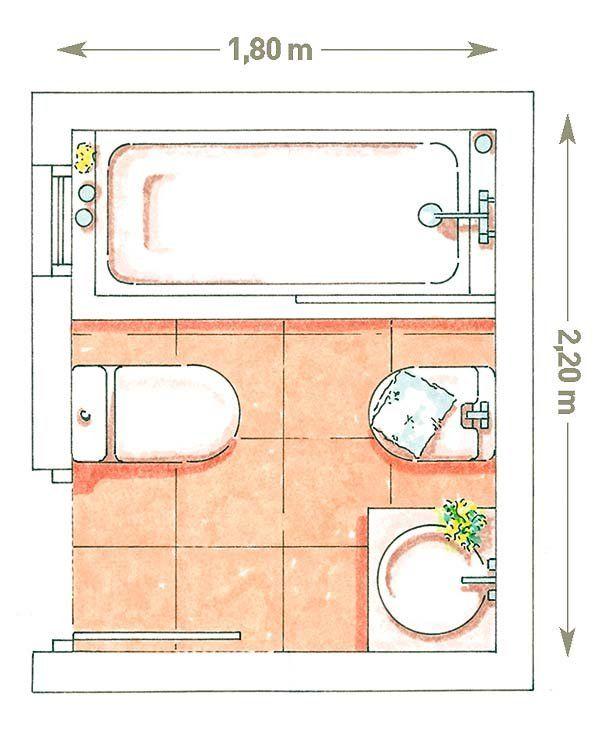 Planifica la distribuci n de tu ba o toilet bath room - Distribucion bano pequeno ...