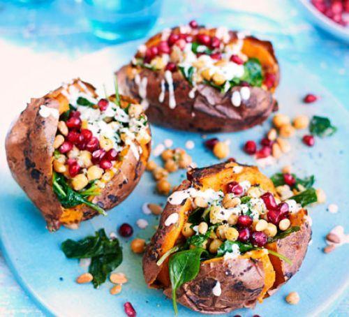 Crispy Sweet Potatoes With Chickpeas Tahini Yogurt Recipe Crispy Sweet Potato Recipes Sweet Potato Jacket