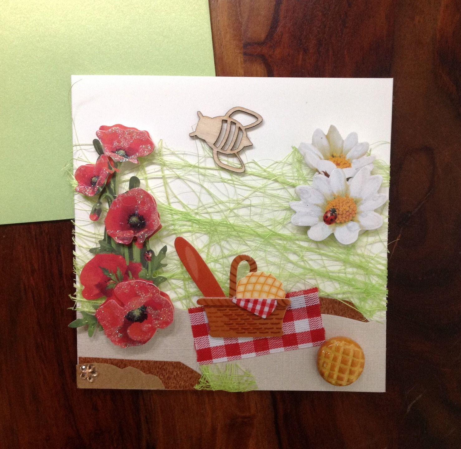 carte bonne vacances ma tresse merci anniversaire faite main 3d pique nique en t cartes par. Black Bedroom Furniture Sets. Home Design Ideas