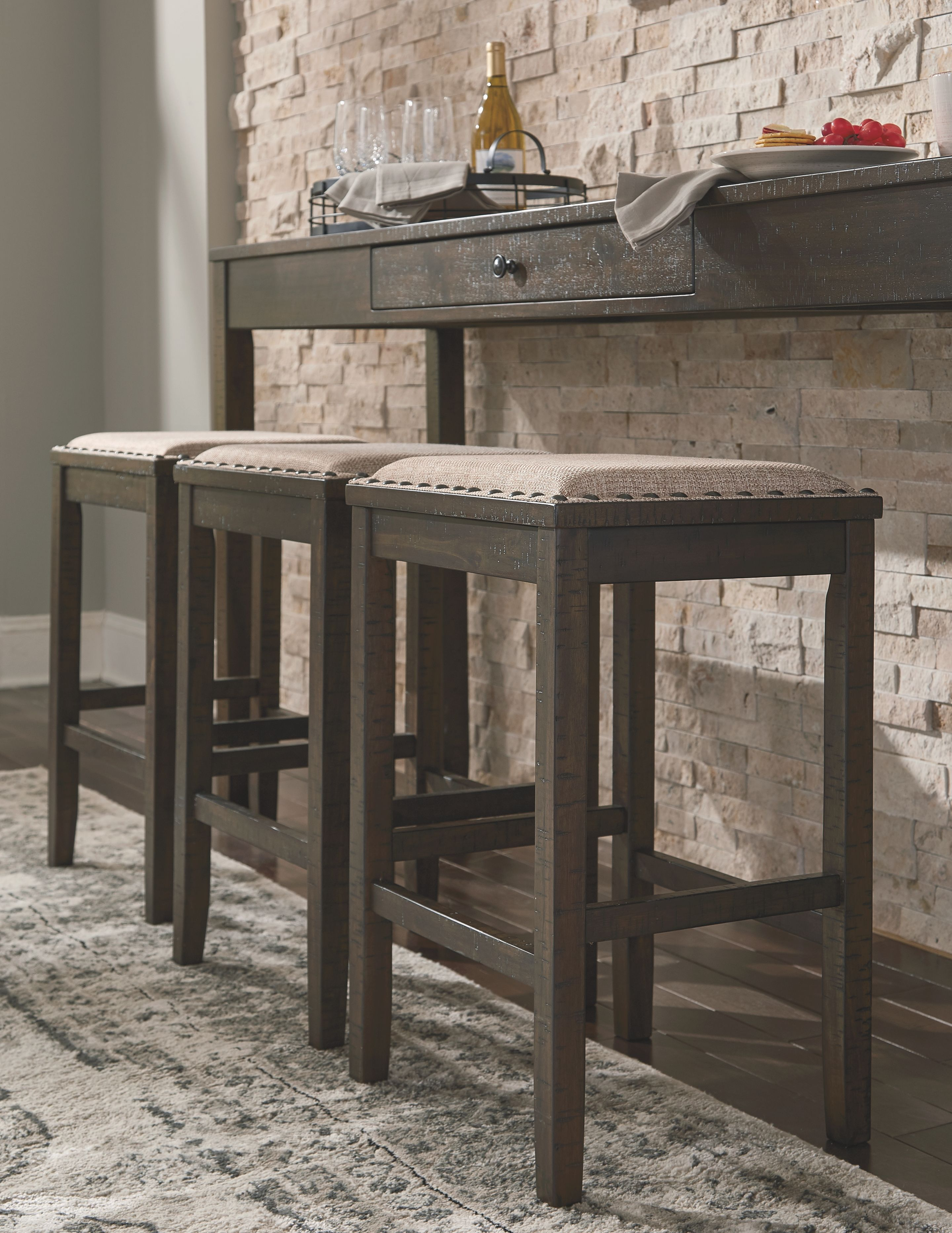 Miraculous Rokane Counter Height Dining Room Table And Bar Stools Set Beatyapartments Chair Design Images Beatyapartmentscom