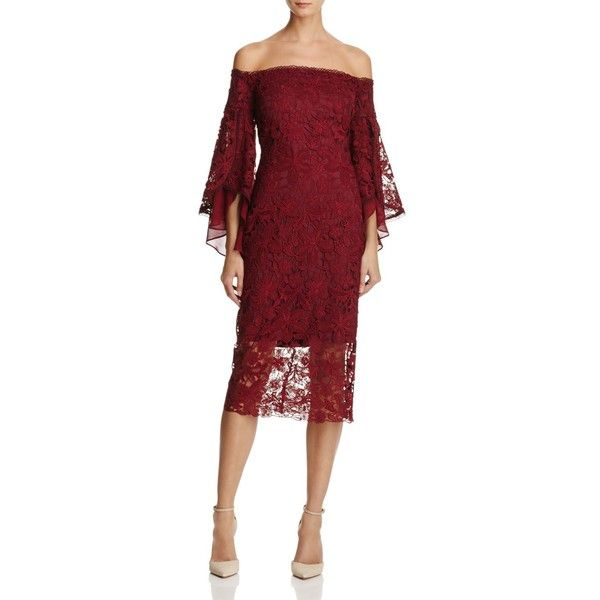 Laundry by Shelli Segal Off-the-Shoulder Lace Dress ($315) ❤ liked ...