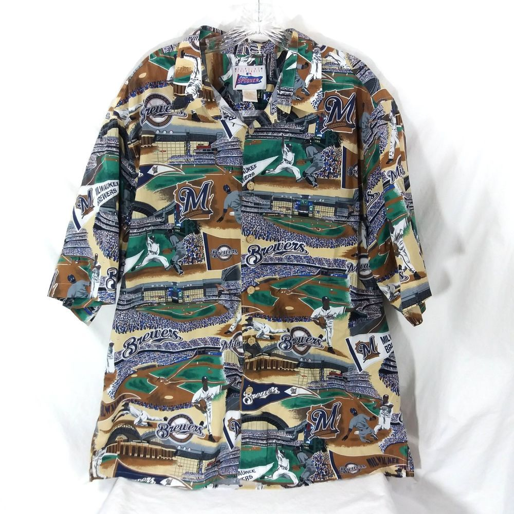 b2c49cb94 Milwaukee Brewers Reyn Spooner Baseball Shirt Size XXL Hawaiian Style MLB  Fan #ReynSpooner #ButtonFront