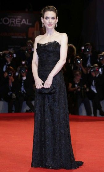 Winona Ryder...elegant in a lace corseted dress by Dolce & Gabbana