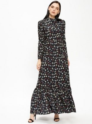 d55af073a71 Black - Multi - Crew neck - Fully Lined - Dresses - Delkash