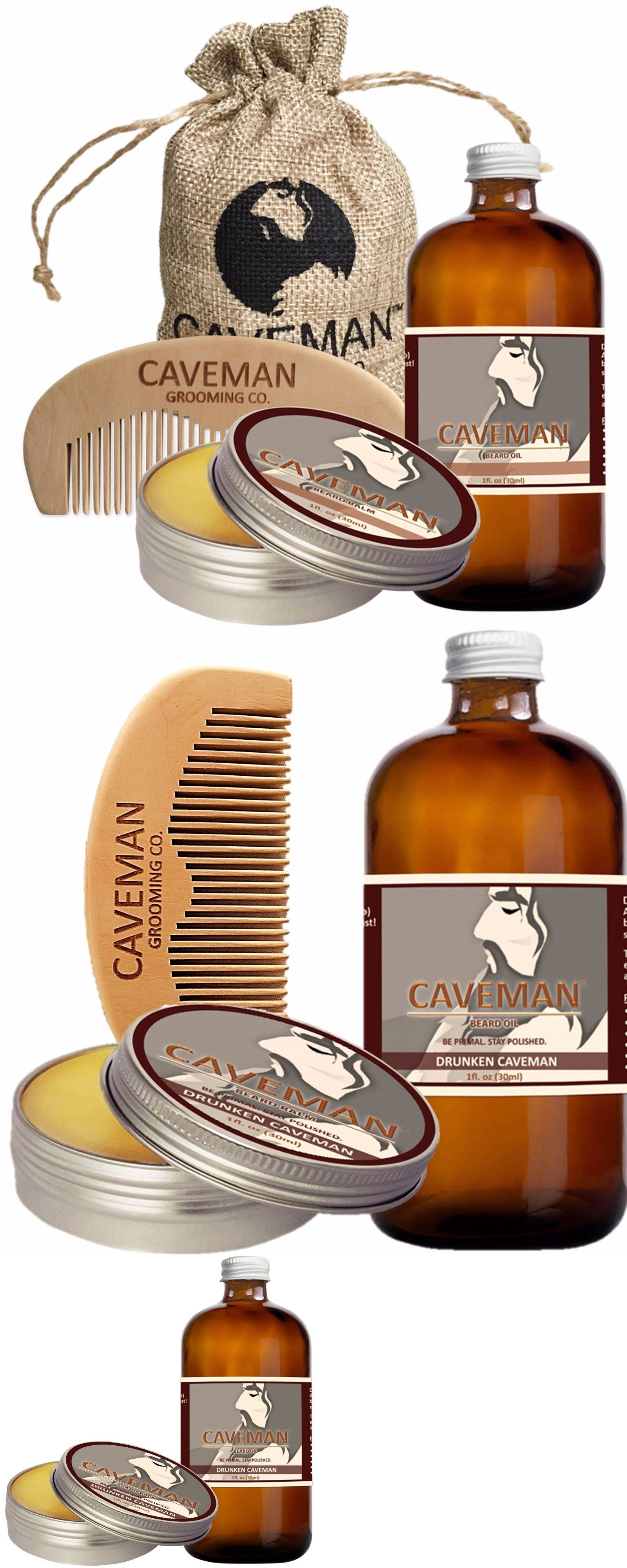Balm Free Beard Brush Health & Beauty Hand Crafted Caveman® Beard Oil Gift Set Kit Beard Oil Health & Beauty