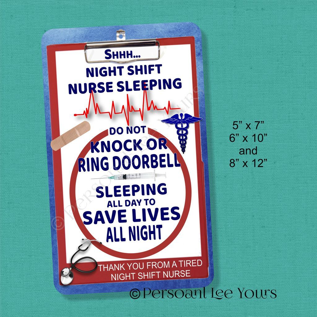 Wreath Signs * Night Shift Nurse Sleeping * 3 Sizes