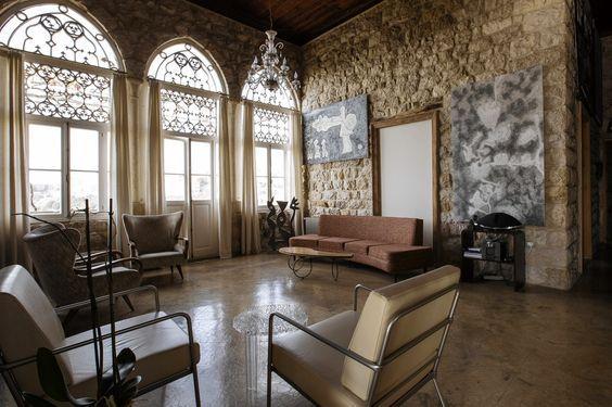 Nadim karam   home restoration in daroun harissa lebanon the interior of stone is  mix period furniture and styles also rh pinterest