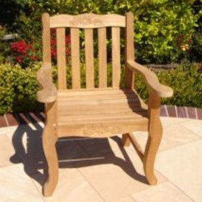 Royal Teak Teakwood Double Rose Dining Arm Chair