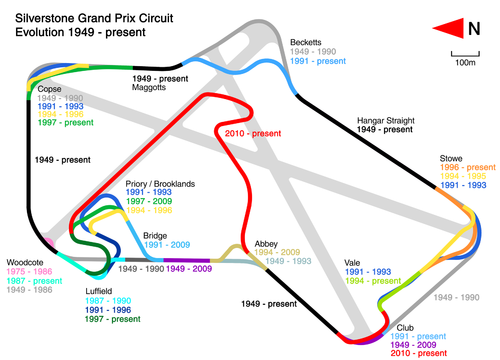 Evolution Of Silverstone Grand Prix Circuit 1949 To Present Png Png Image 500 360 Pixels Circuit Circuit Automobile Racing Circuit