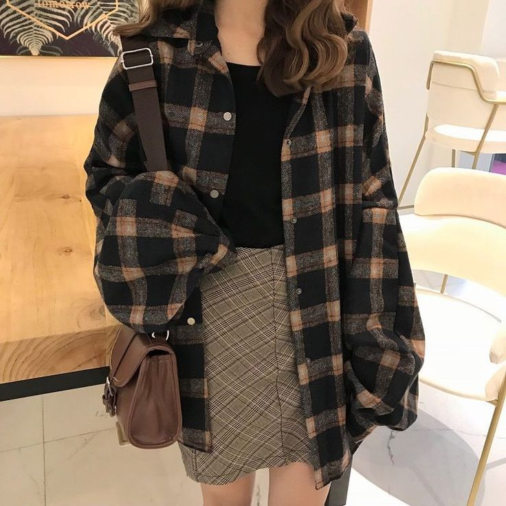 Buy Whoosh Oversized Plaid Shirt   YesStyle is part of Plaid shirt outfits -