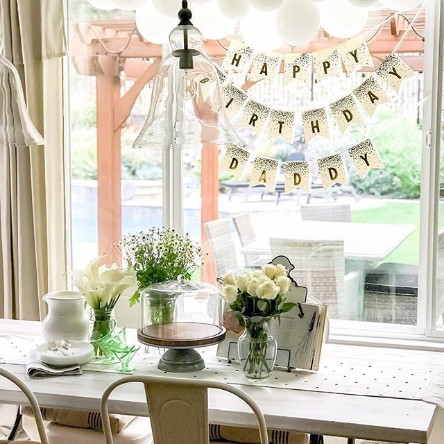 happy birthday decor, neutral birthday decor, classy birthday decor ...