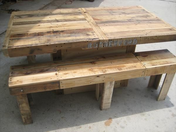Backyard pallet dining table pallet wood pallets and woods for Pallet dining table