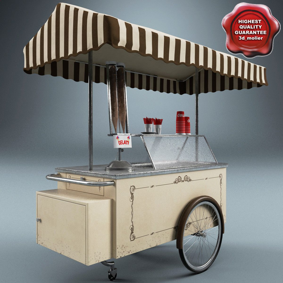 Ice cream cart max pinteres for Food bar 3d model