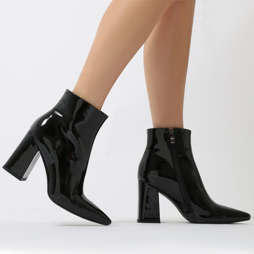 419826d68f Empire Pointed Toe Ankle Boots in Black Patent | Shoe Fanatic ...
