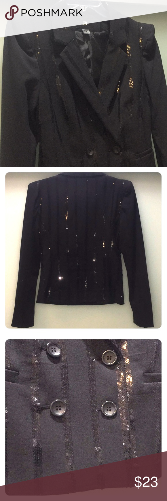 Black evening jacket decorated with sequins sequins blazers and