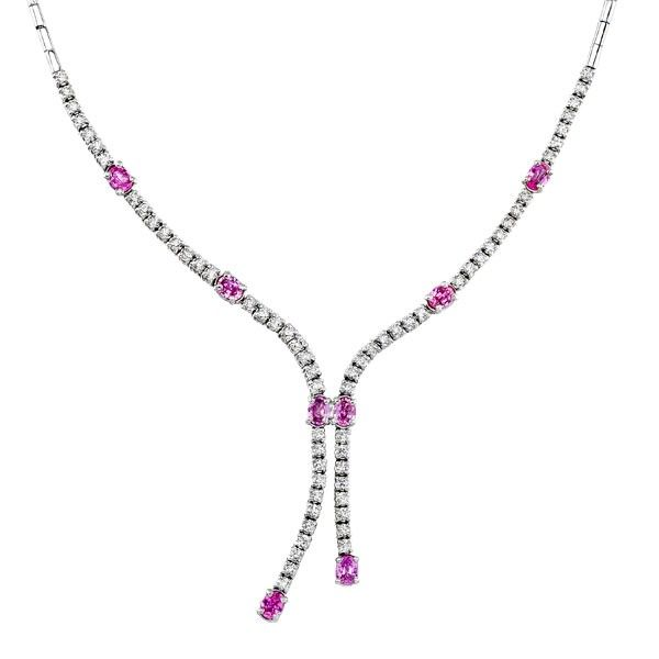 This 14k white gold diamond and pink sapphire necklace features round diamonds that are prong set (2.43 ctw) and pink sapphires that are also prong set (3.64 ctw). This necklace may be custom made in yellow gold or platinum.
