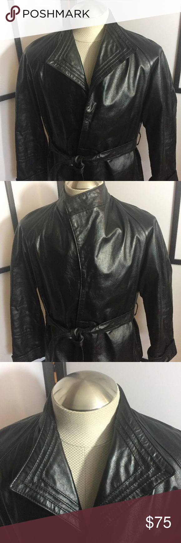 Vintage Comint Leather Black Size 12 With Belt Fashion Clothes Design Urban Outfitters Jacket [ 1740 x 580 Pixel ]
