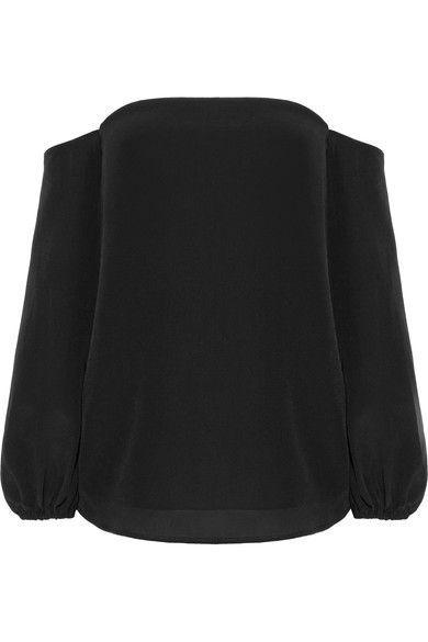 Theory - Laureema Off-the-shoulder Silk Crepe De Chine Top - Black - US12