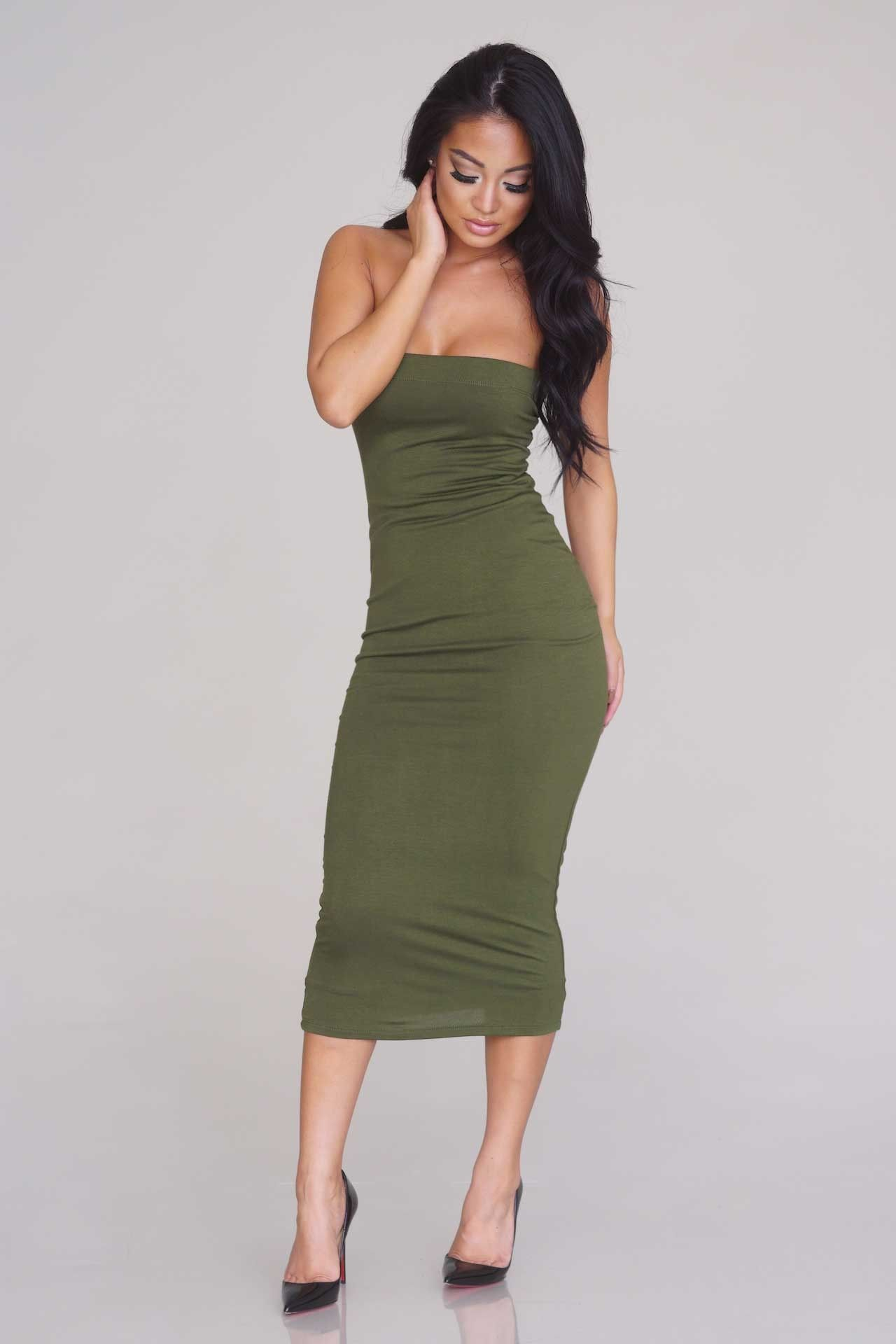 solid tube midi dress - olive - casual - dresses - clothing | she