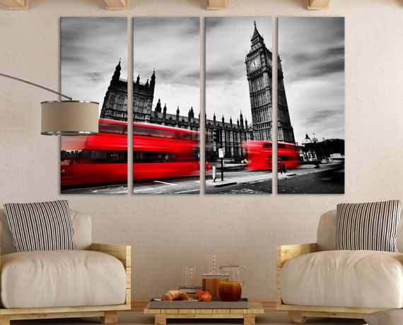 Black and White London Wall Art Gift / London Fine Art Photography Photo on Canvas Wall Decor Gift for Home / Red Bus England Wall Art Décor & Black and White London Wall Art Gift / London Fine by ZellartCo ...
