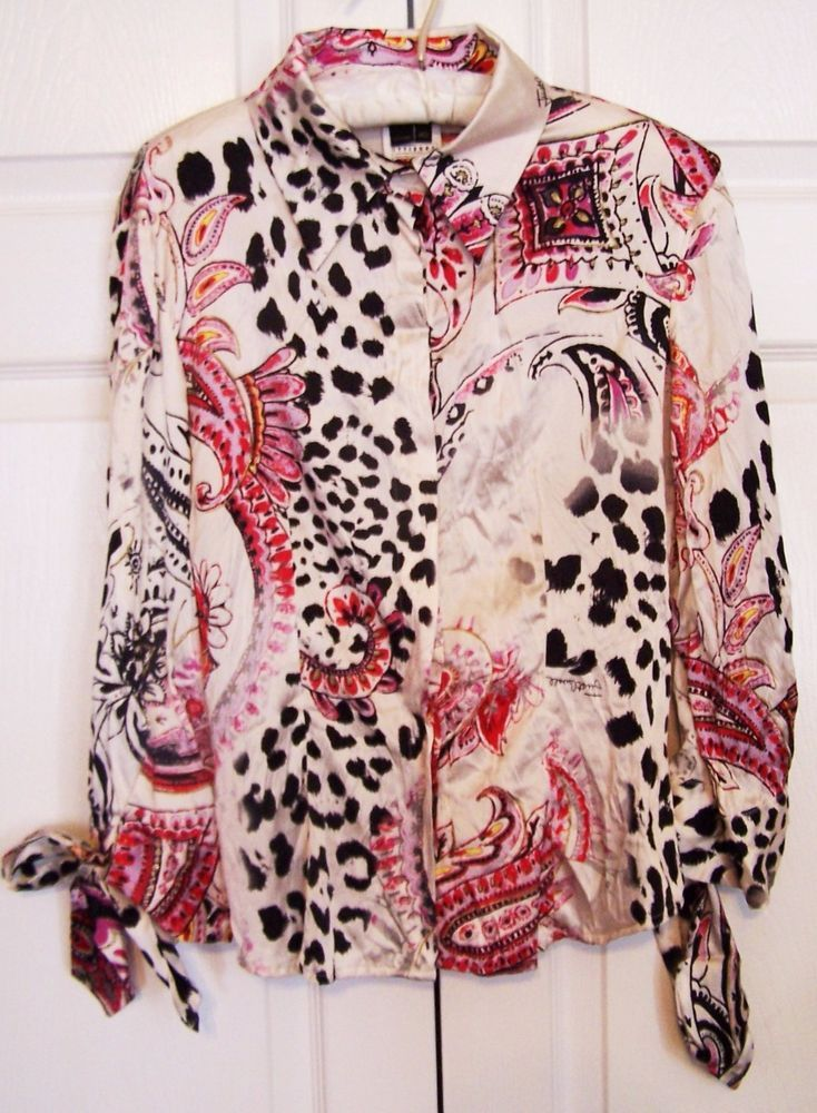 d731ebd17c0647 Roberto Cavalli Just Cavalli silk animal print women s shirt size small   RobertoCavalli  ButtonDownShirt