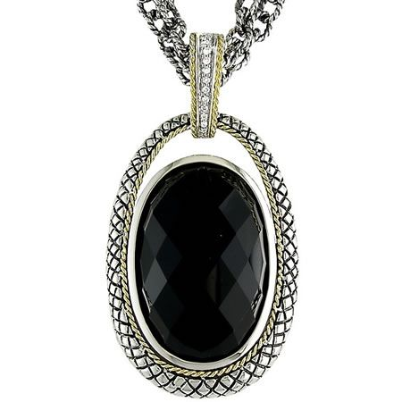 18kt and sterling silver oval black onyx diamond pendant call for 18kt and sterling silver oval black onyx diamond pendant call for price aloadofball Gallery