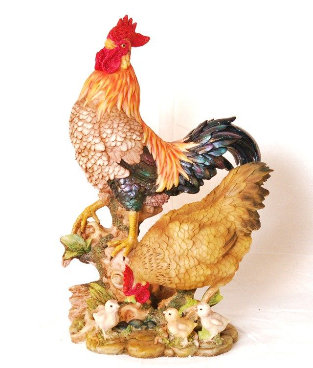 Resin Rooster Family with a Barrel Figurine