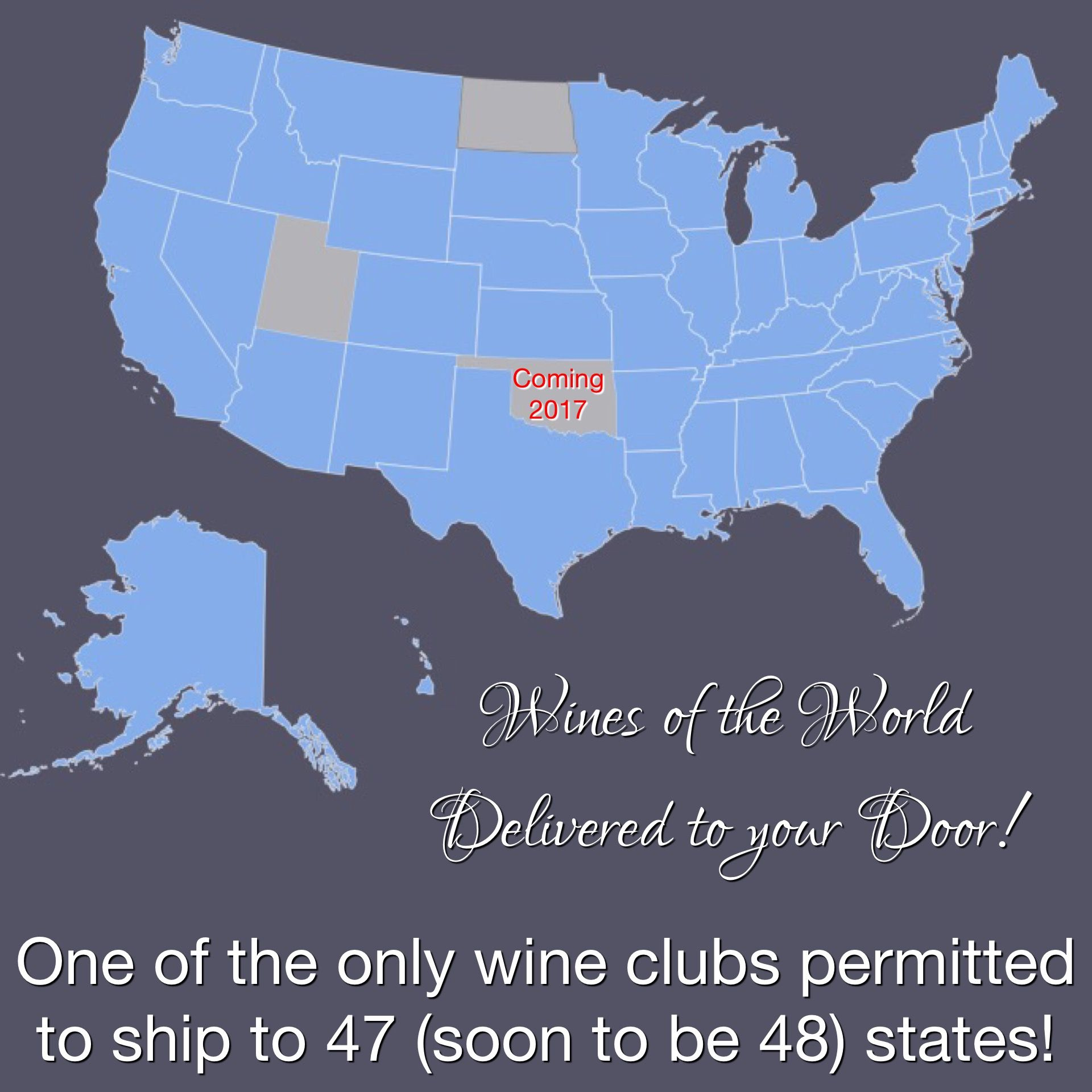 We are one of the ONLY wine tasting clubs that can ship to 47/50 states!  #wine #delivered #directcellars