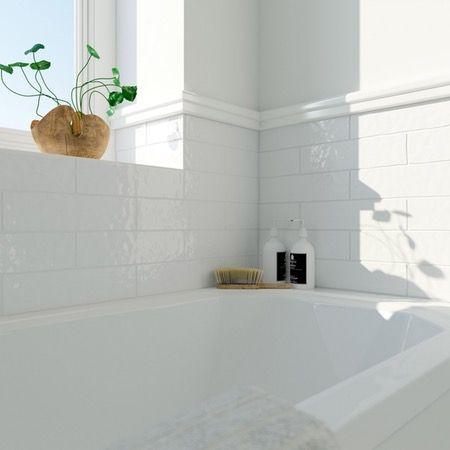 Laura Ashley Artisan White Gloss Wall Tile 75mm X 300mm Grey Wall Tiles Upstairs Bathrooms Bathroom Design