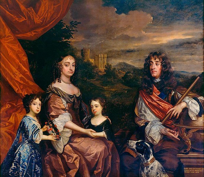 The Family of James, Duke of York. The Duke (later King James II and VII) and Duchess of York (previously Anne Hyde) were painted by Peter Lely in between 1668 and 1670. Their two daughters, Mary (left) and Anne (right), later Queen Mary II and Queen Anne, were added by Benedetto Gennari in or after 1680. Windsor Castle is in the background. Datecirca 1668-85