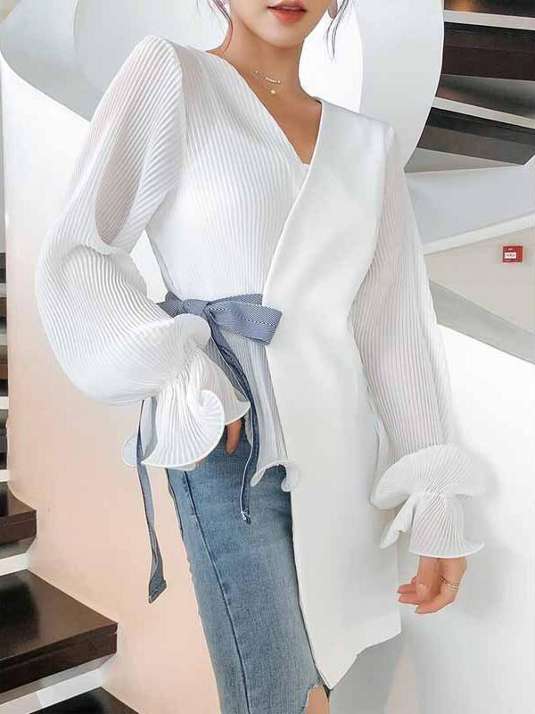 Photo of Fashion V Neck Loose Long Sleeve Chiffon Blouse
