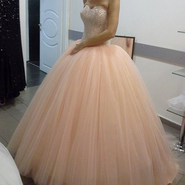 New Arrival Prom Dress,Modest Prom Dress,pink Tulle Sparkly Crystal Beaded Sweetheart Peach Prom Dress #modestprom