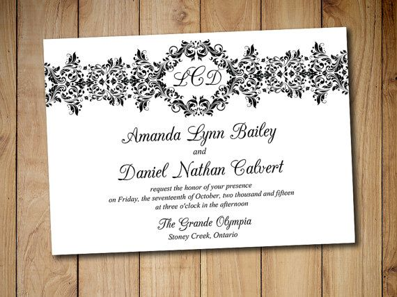 Printable Wedding Invitation Template - Instant Download DIY - download invitation card