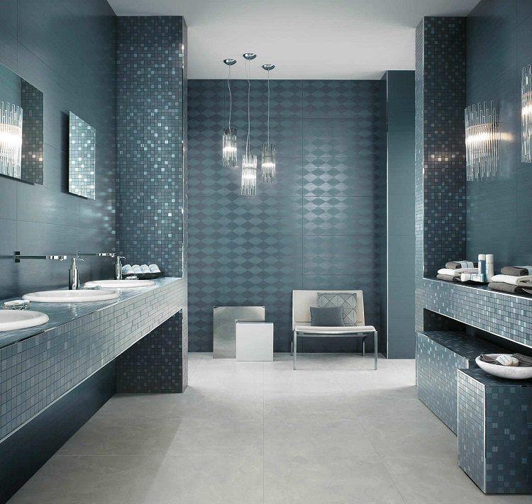 carrelage salle de bain bleu petrole