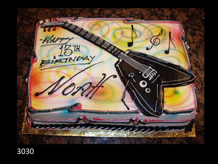 Guitar Birthday Cake With Musical Notes Musical