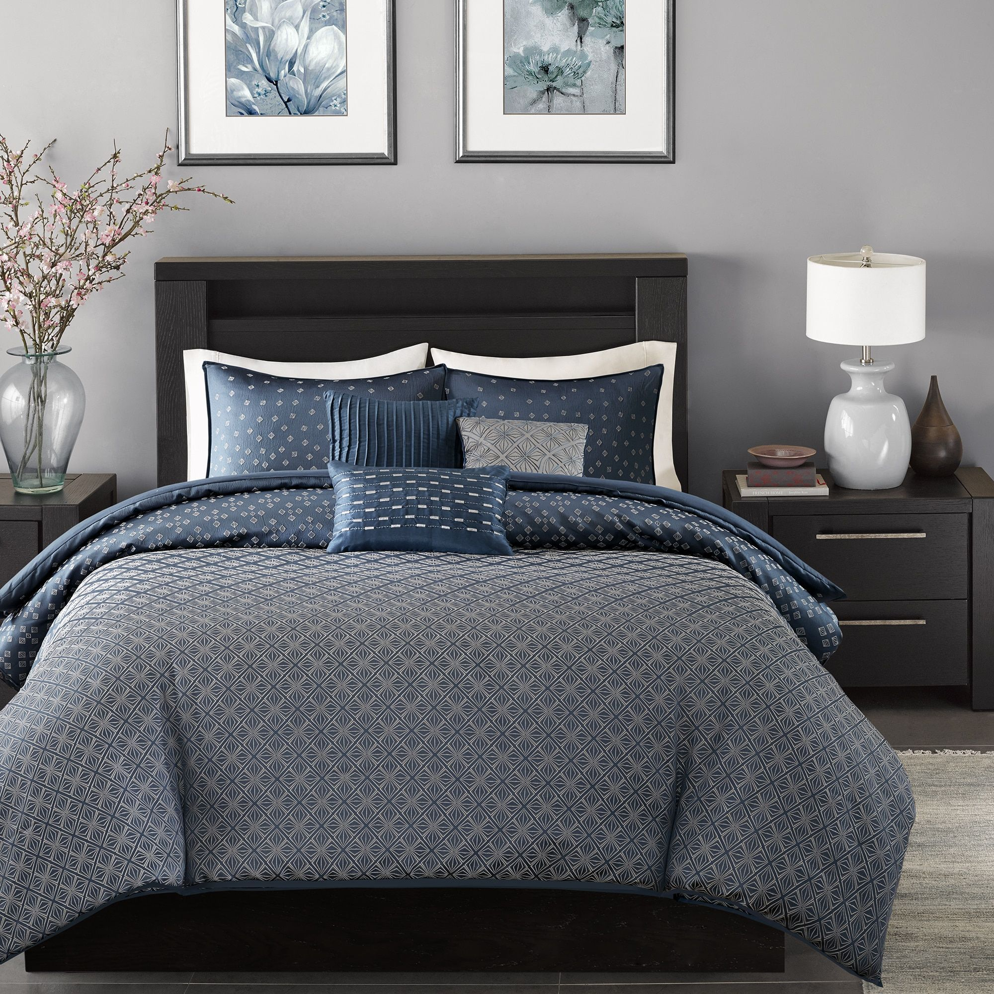 Madison Park Morris Navy (Blue) 6 Piece Duvet Cover Set