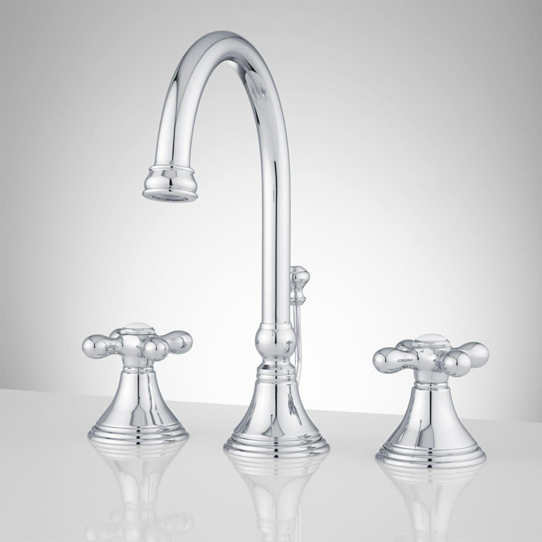 Melanie Widespread Gooseneck Bathroom Faucet - Cross Handles | Tap ...