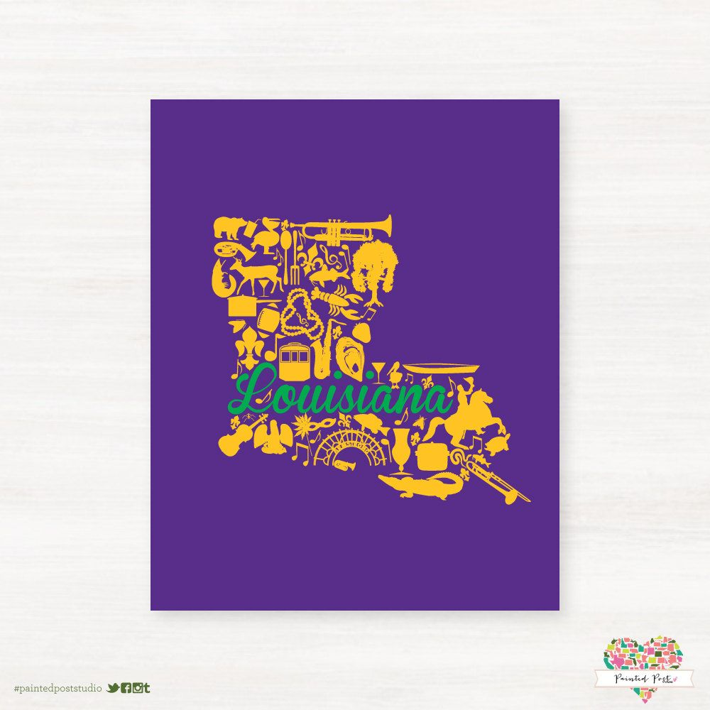 Louisiana Mardi Gras Landmark Custom State Map