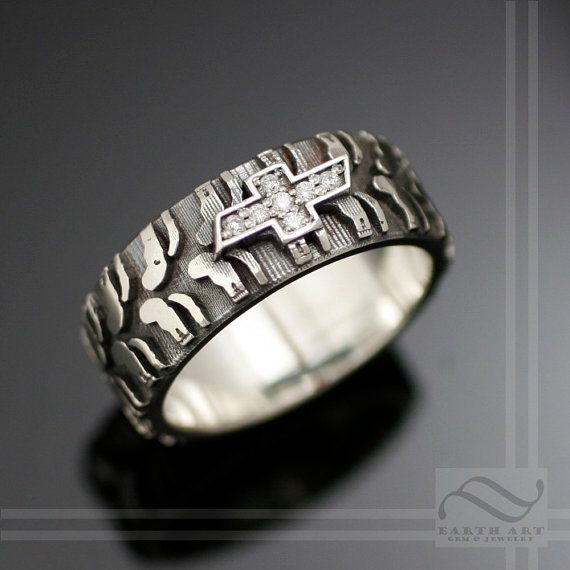 Mens Chevy Tire Tread Ring With CZ Sterling By
