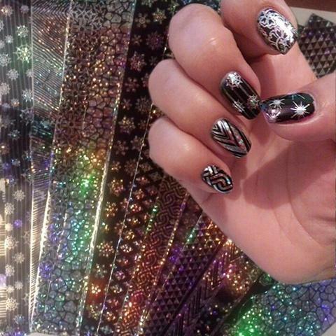 16Pcs/set 20*4cm Lace Laser Starry Nail Foils Holo Nail ...