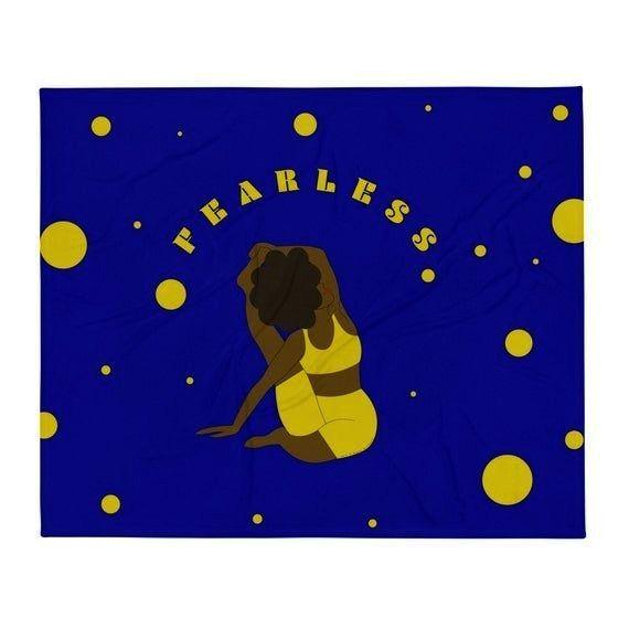Motivational Throw Blanket    Fearless Poster     Afro Yogi    Yoga Pose    Parivrtta Surya Yantras