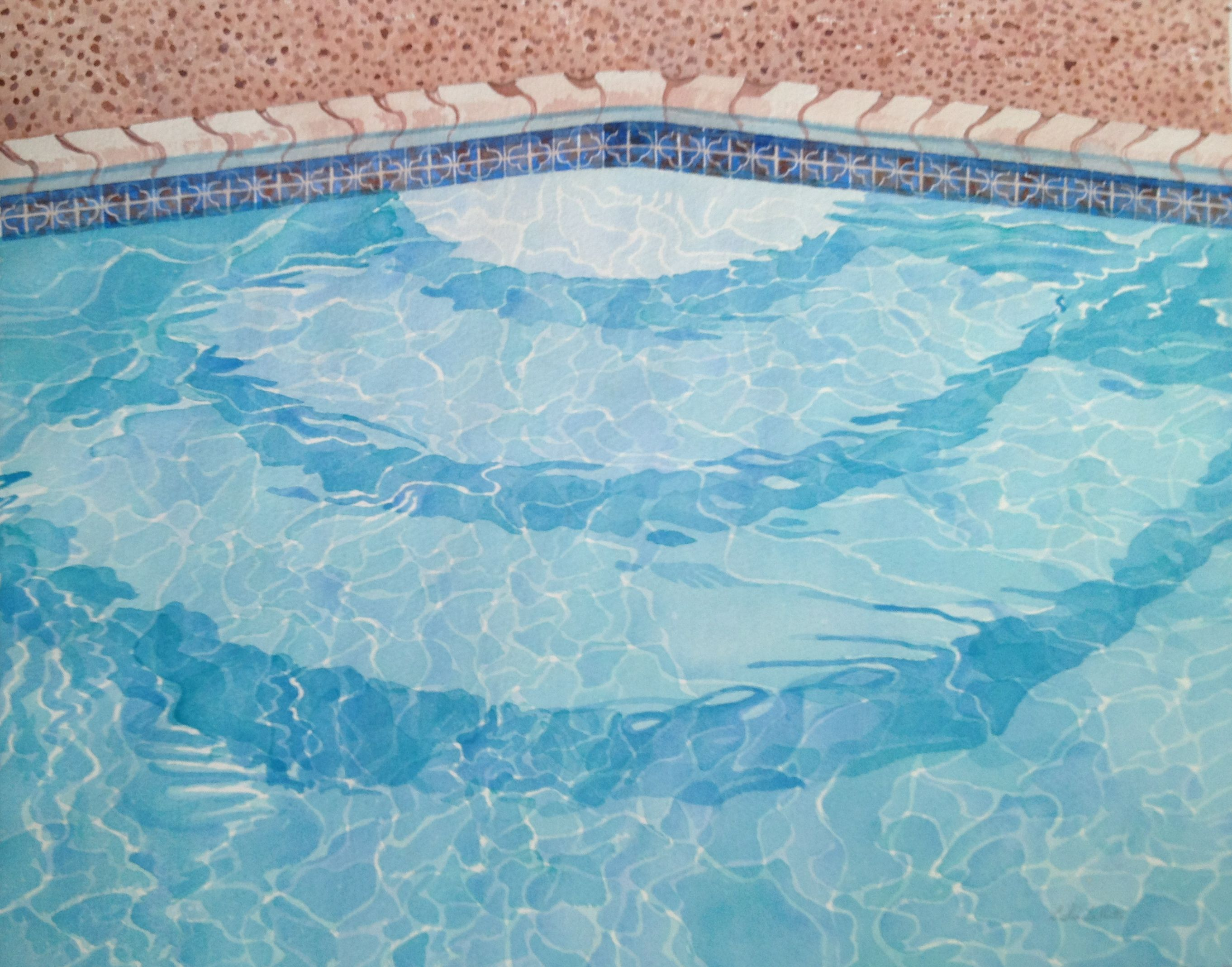 Pool Steps 16x20 Watercolor By Leslie White Www Trailheadstudios